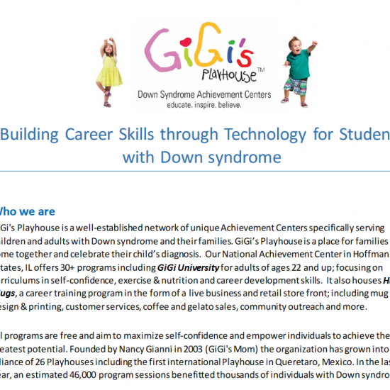 GiGi's Playhouse grant – Career skills development for students with Down Syndrome (Jan 2016–Aug 2016)